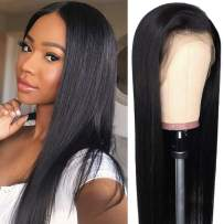Ali Moda Brazilian Silky Straight Lace Frontal Wigs 150% Density Pre-Plucked Human Virgin Hair Nature Hairline With Baby Hair 18 inch