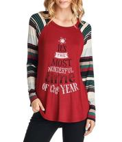 Euaoxnc Women Christmas Letter Printed Raglan Striped Long Sleeve Shirts Holiday Tunic Tops