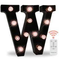 Obrecis LED Wall Letters Lights Alphabet, Diamond Bulbs Marquee Letters with Lights Remote Control Night Light for Bar, Christmas Party Decorations - Black Letter W