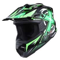 1Storm Adult Motocross Helmet BMX MX ATV Dirt Bike Helmet Racing Style HF801; Sonic Green