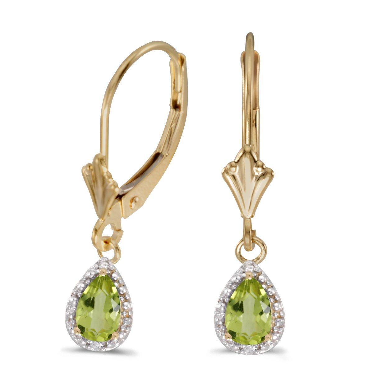 14k Yellow Gold Pear Peridot And Diamond Leverback Earrings