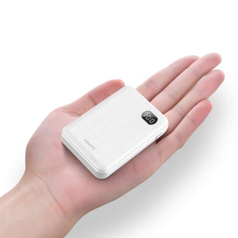 AINOPE Portable Charger 10000mAh, (Small) (LCD Display) (Powerful), Power Bank/External Battery Pack/Battery Charger/Phone Backup with 2 USB Output,Perfect for Travel (White)