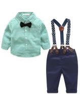 Baby Boys Gentleman Long Sleeves Plaid Bowtie Romper Suspenders Shorts Two-Piece Set