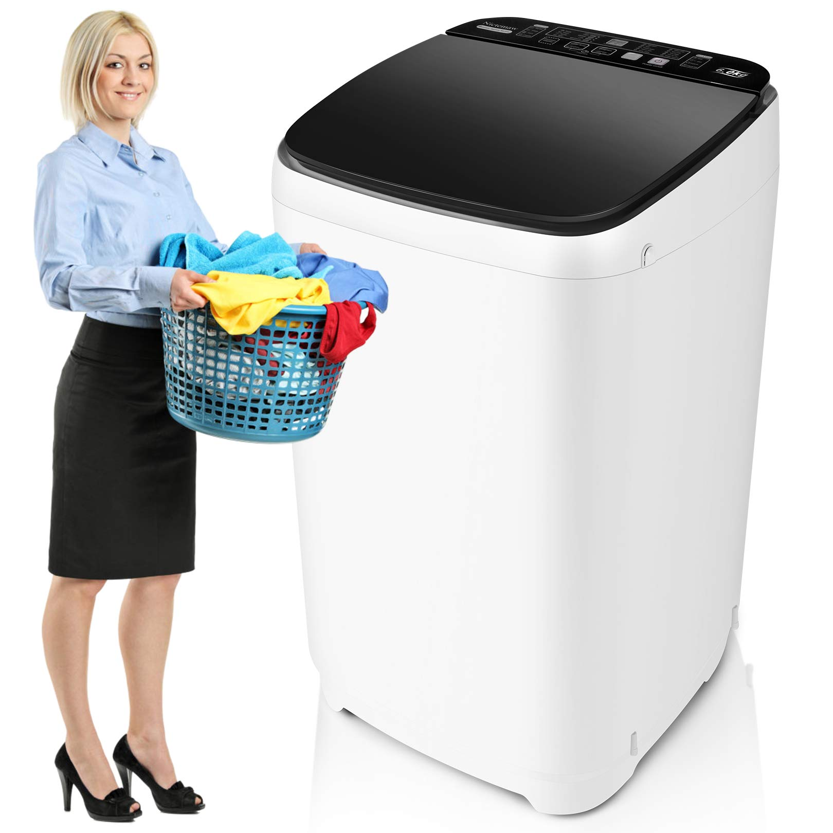 Full-Automatic Washer Machine Nictemaw Portable Washing Machine 1.48 Cu.ft/13.6Lbs Capacity Laundry Washer Spin Dryer, 10 programs Selections with LED Display Ideal for Home/Apartments/Dorms/RV