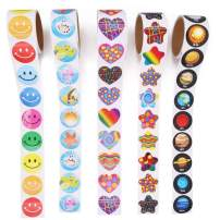Unigift 5 Rolls Reward Stickers Kit-Round Solar System Planet, Round Smiley Faces,Colorful Stars,Heart,Tropical Fish Design Stickers for Motivational Encouragement(500 Count)