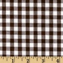 Richland Textiles Wide Width 1/4in Gingham Check Brown Fabric By The Yard