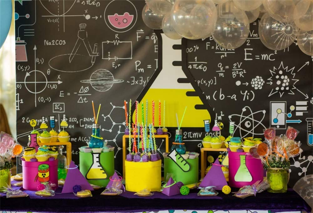 AOFOTO 8x6ft Creative Backdrops for Pictures Chemistry Classroom Blackboard Test Tubes Balloons Cakes Candy Photography Background Boy Happy Birthday Portraits Shooting Photo Studio Drapes
