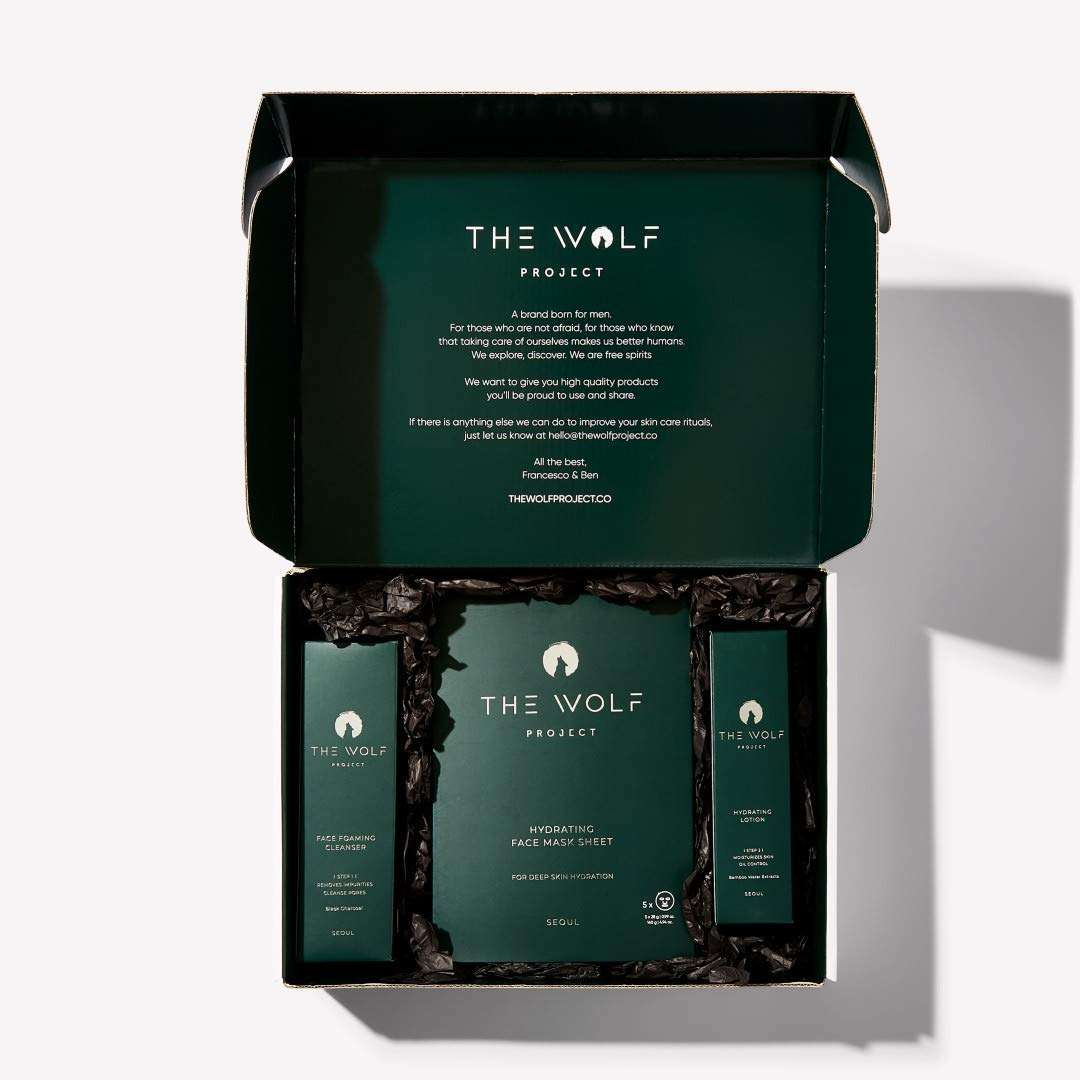 WOLF PROJECT   SKIN CARE KIT FOR MEN - Daily men facial kit - Activated charcoal face wash men, hydrating face lotion, charcoal face mask sheet, gift set for men, korean skin care