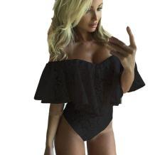 Keepfit Ruffle Off Shoulder Mini Jumpsuit, Sheath Lace Romper Bodysuit for Women