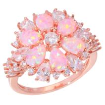 CiNily Opal Ring-Pink Opal Cubic Zirconia CZ Ring 14K Rose Gold Plated Gemstone Ring for Women Size 5-12