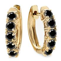 Dazzlingrock Collection 1.00 Carat (ctw) 10K Ladies Huggies Hoop Earrings 1 CT, Yellow Gold