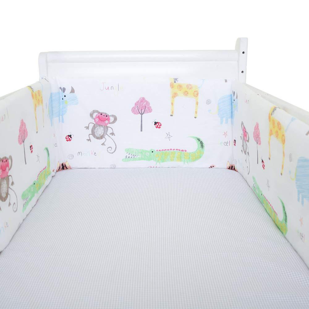 BATTILO HOME Cartoon Print U-Shaped Detachable Baby Bed Crib Bumper Newborn Bumpers Infant Safe Fence Line Protector, 180x30CM