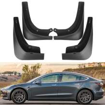 BASENOR Tesla Model 3 Mud Flaps Splash Guards(Set of Four) No Need to Drill Holes Gen 2 Upgraded
