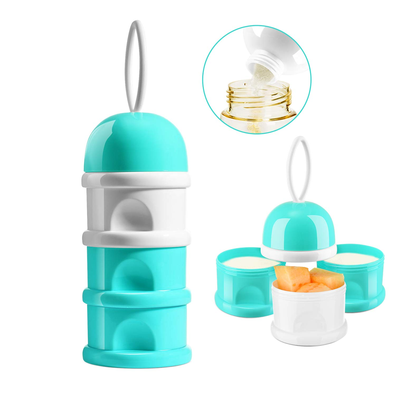 NCVI Baby Milk Powder Formula Dispenser 3 Layers Portable Multifunctional Spill-Proof Baby Feedingravel Storage Container with Handle BPA Free (8367)