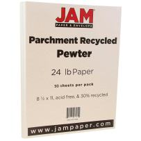 JAM PAPER Parchment 24lb Paper - 8.5 x 11 - Pewter Gray Recycled - 50 Sheets/Pack