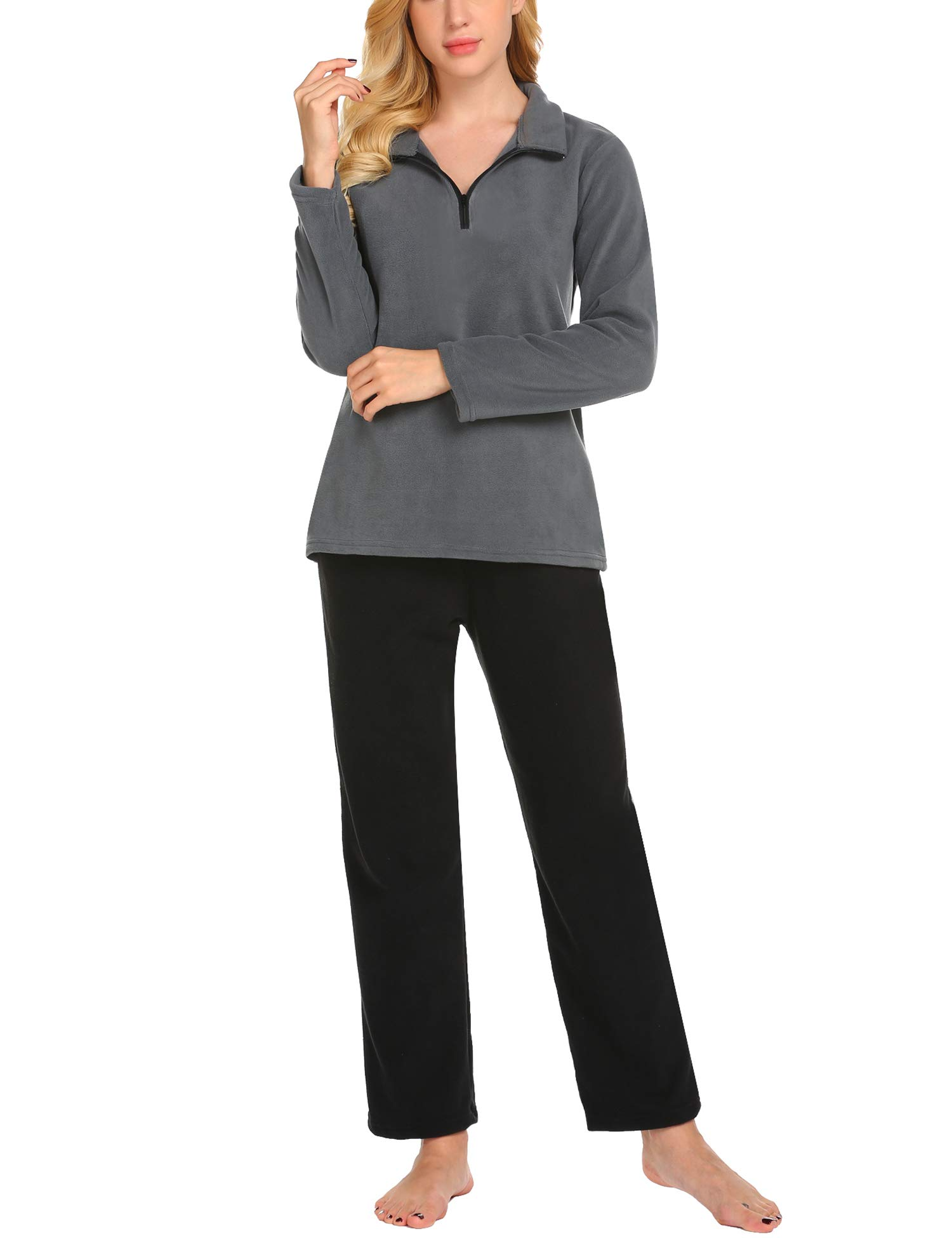 Hotouch Women's Loungewear Plush Cozy Fleece Pajamas Set S-XXL