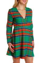 Carprinass Women's Ugly Christmas Printed Midi Dress Long Sleeve Wrapped Jumper