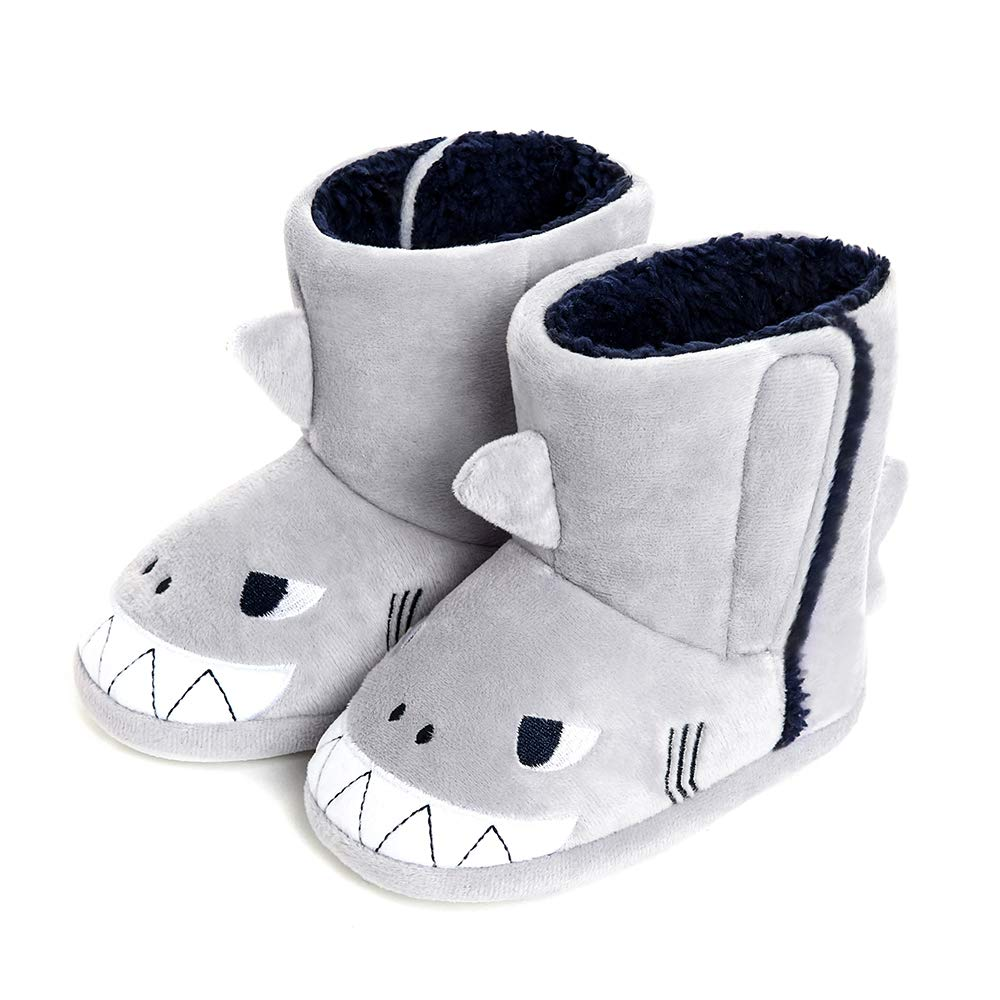 Boys Shark Slippers Booties Plush Animal House Slippers Toddler Kids Fuzzy Indoor Shoes