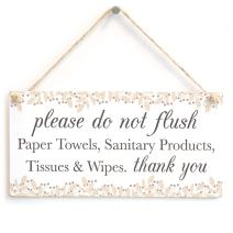 "Meijiafei Please do not Flush Thank You - Neutral Colour Septic Tank Notice Hanging Plaque for Toilet Door 10""x5"""