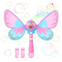 Kimiangel Bubble Machine Toys Automatic Handheld Bubble Wand for Kids Musical Light up Butterfly Bubble Blower with Bubble Solution, Perfect to Use for Party, Wedding, Indoor and Outdoor Activities