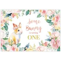 Allenjoy 7x5ft Some Bunny is Turning One Backdrop Supplies for Floral Spring Easter Girls 1st Birthday Party Decorations Hare Photography Background Studio Portrait Pictures Photoshoot Props Favors