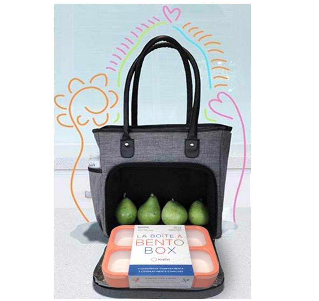 Extra Large Meal Prep Lunch-Box for Women with Container, Insulated Tote Bag, Fits Big Containers Laptop Tablet, Stylish XL Ladies Commuter Handbag. Grey, Black Shoulder Strap includes Bento