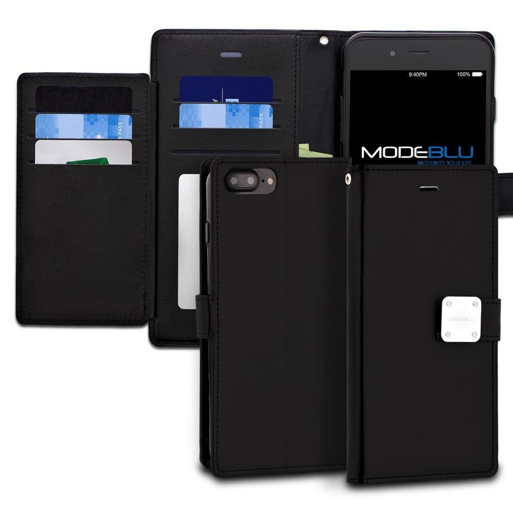 iPhone 7 Plus Case, ModeBlu [Mode Diary Series] [Black] Premium Synthetic Leather [Stand View] for Apple iPhone 7 Plus (2016)