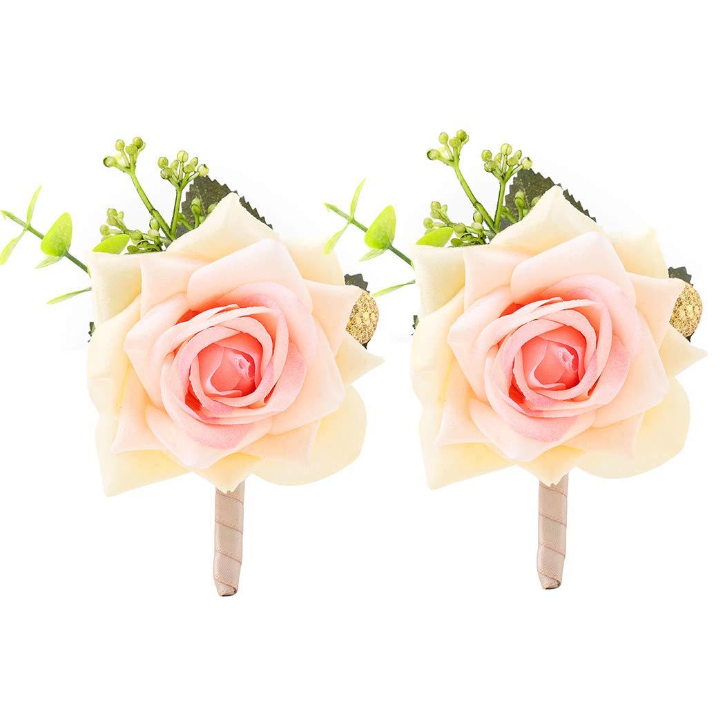 Campsis Wedding Boutonniere Men's Champagne Rose Buttonholes Artificial Flower Accessory for Groom Groomsman Prom Party Suit Decoration 2Pcs