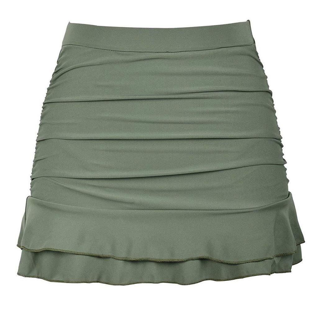 STARBILD Women's High Waisted Ruched Ruffle Bottom Skirted Bikini Shirred Swimsuits Bathing Suit