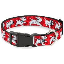 Buckle-Down Dog Collar Plastic Clip Dalmatians Running Paws Reds White Black Available in Adjustable Sizes for Small Medium Large Dogs