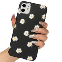 LLZ.COQUE for iPhone 11 Case, Cute Daisy Chrysanthemum Black Silicone Slim-Fit Anti-Scratch Anti-Finger Print Shock Proof Smooth Soft TPU Gel Case for iPhone 11