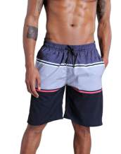 QRANSS Men's Quick Dry Swim Trunks Bathing Suit Striped Shorts with Pockets