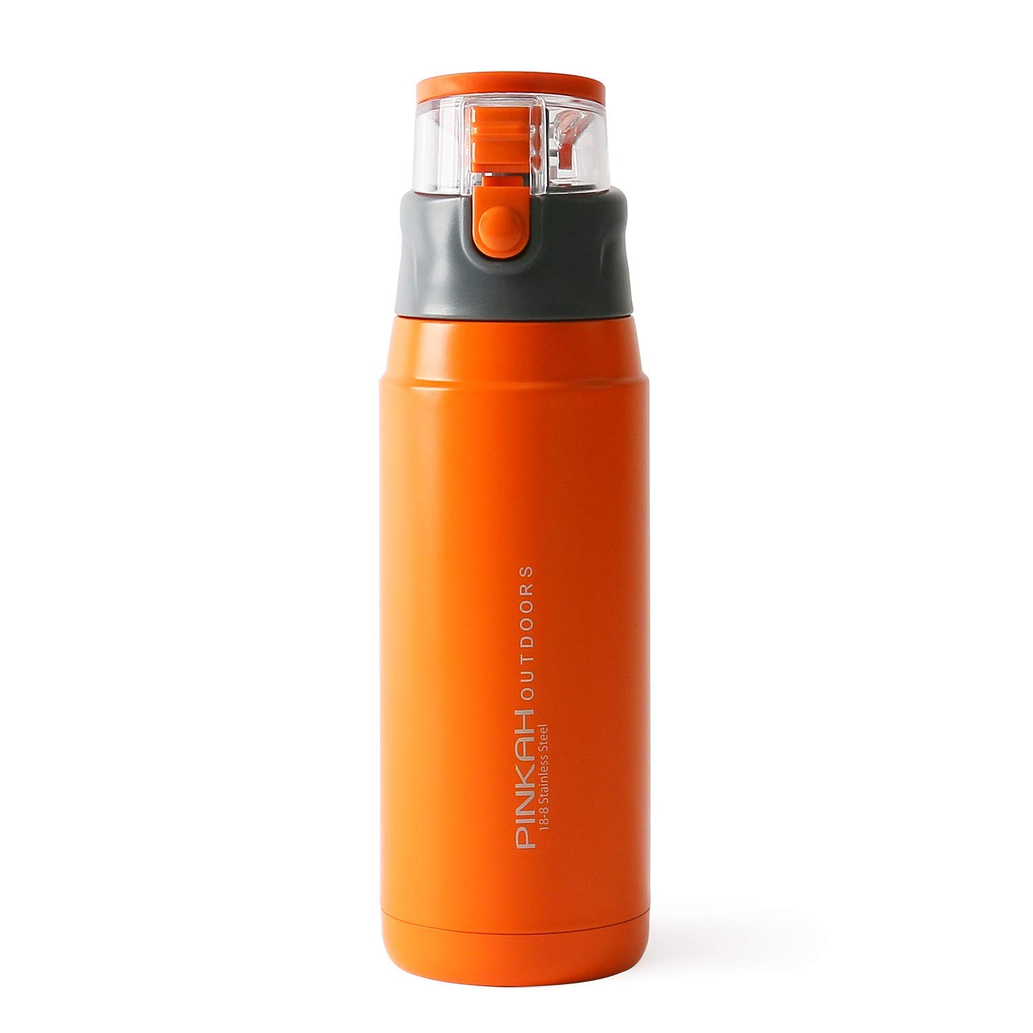 MEIGIX Insulated Water Bottle Stainless Steel Travel Mug Leak Proof, for Home, Sports, Outdoor, School, Gift, Ice Drinks and Hot Beverage, 22 oz, PJ-3504 (Orange/Transparent)
