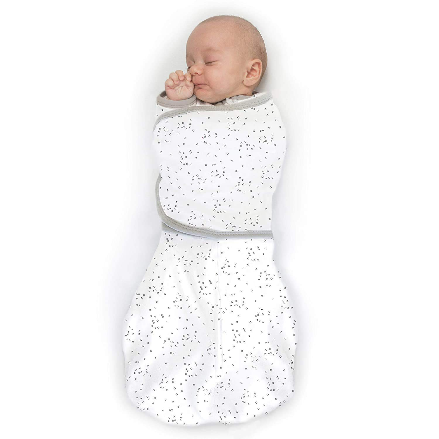 Amazing Baby Omni Swaddle Sack with Wrap & Arms Up Sleeves & Mitten Cuffs, Sterling Confetti, Small 0-3 Months