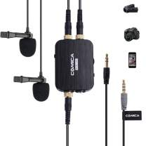 Comica CVM-D03 Dual Lavalier Lapel Microphone with Mono/Stereo Sound, Volume Adjustment, Real-time Monitoring, Portable Clip-on mic for Video Recording, Interview,Cameras,Computer &Smartphone
