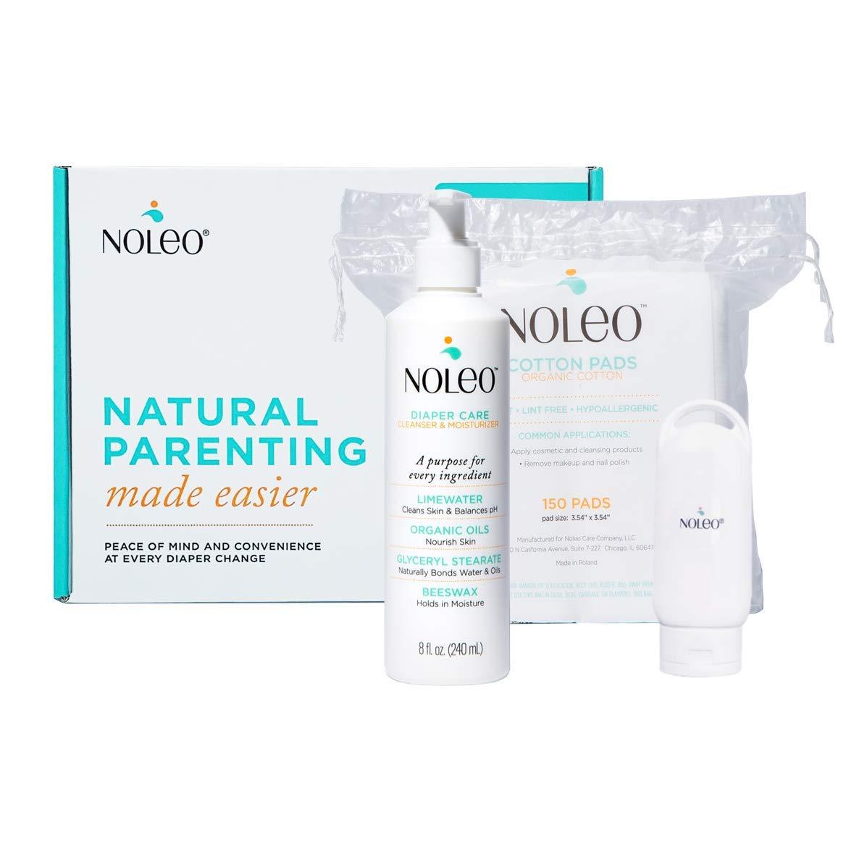 NOLEO - 3 in 1 Organic Diaper Care, Alternative to Baby Wipes*, Rash Preventive Cream, Moisturizing Lotion (Baby Box)