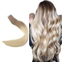 "Easyouth 20"" PU Tape In Hair Extensions Color #6 Medium Brown Fading to #613 Blonde Silky Straight Hair 50g 20pcs Per Pack 100% Real Human Hair Invisible Tape On Hair Extensions Seamless Skin Weft"