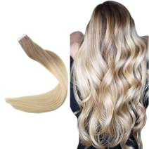 """Easyouth 20"""" PU Tape In Hair Extensions Color #6 Medium Brown Fading to #613 Blonde Silky Straight Hair 50g 20pcs Per Pack 100% Real Human Hair Invisible Tape On Hair Extensions Seamless Skin Weft"""