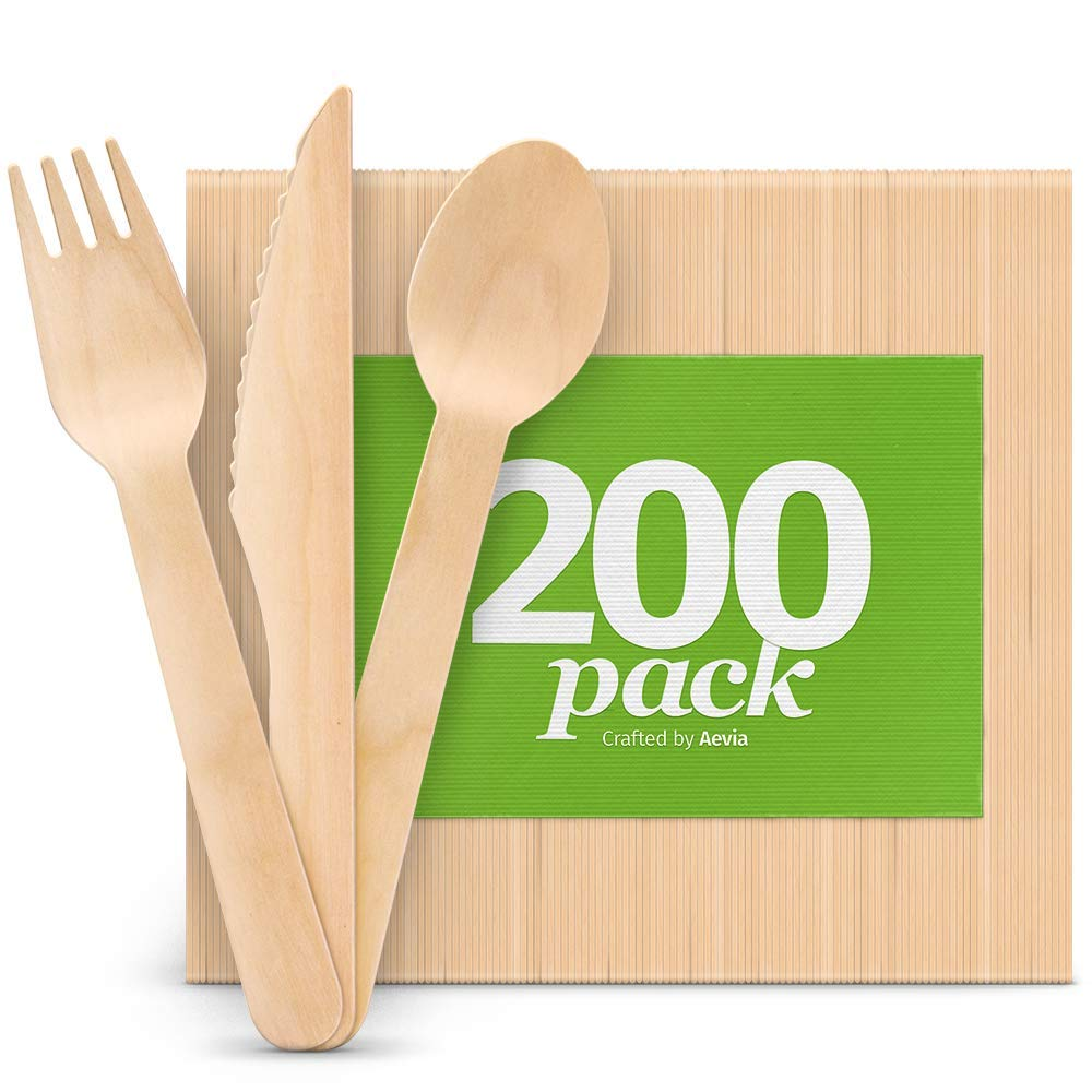 Disposable Wooden Cutlery Set - Natural, Eco-Friendly, Biodegradable, Compostable Utensils - Great for Parties, Weddings & Dinner Events - Pack of 200 (100 Forks, 50 Spoons, 50 Knives) By Aevia