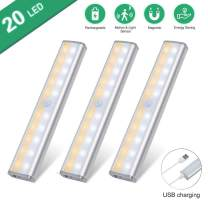 Slim Under Cabinet Lights, USBGD Portable 20 LED Motion Sensor Closet Light, 3 Color Mode, Rechargeable Battery Operated Lights Bar for Kitchen Stair Hallway Under Counter Lighting (White-3Pack)
