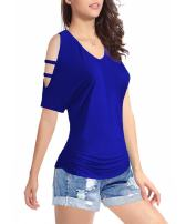 Women's Short Sleeve Shirt V-Neck Drape Waist Blouse Tops