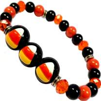 Halloween Black Orange Beaded Bracelet-Fall Gifts Jewelry for Women Girls-Candy Corn Painted-Designed Shipped in USA