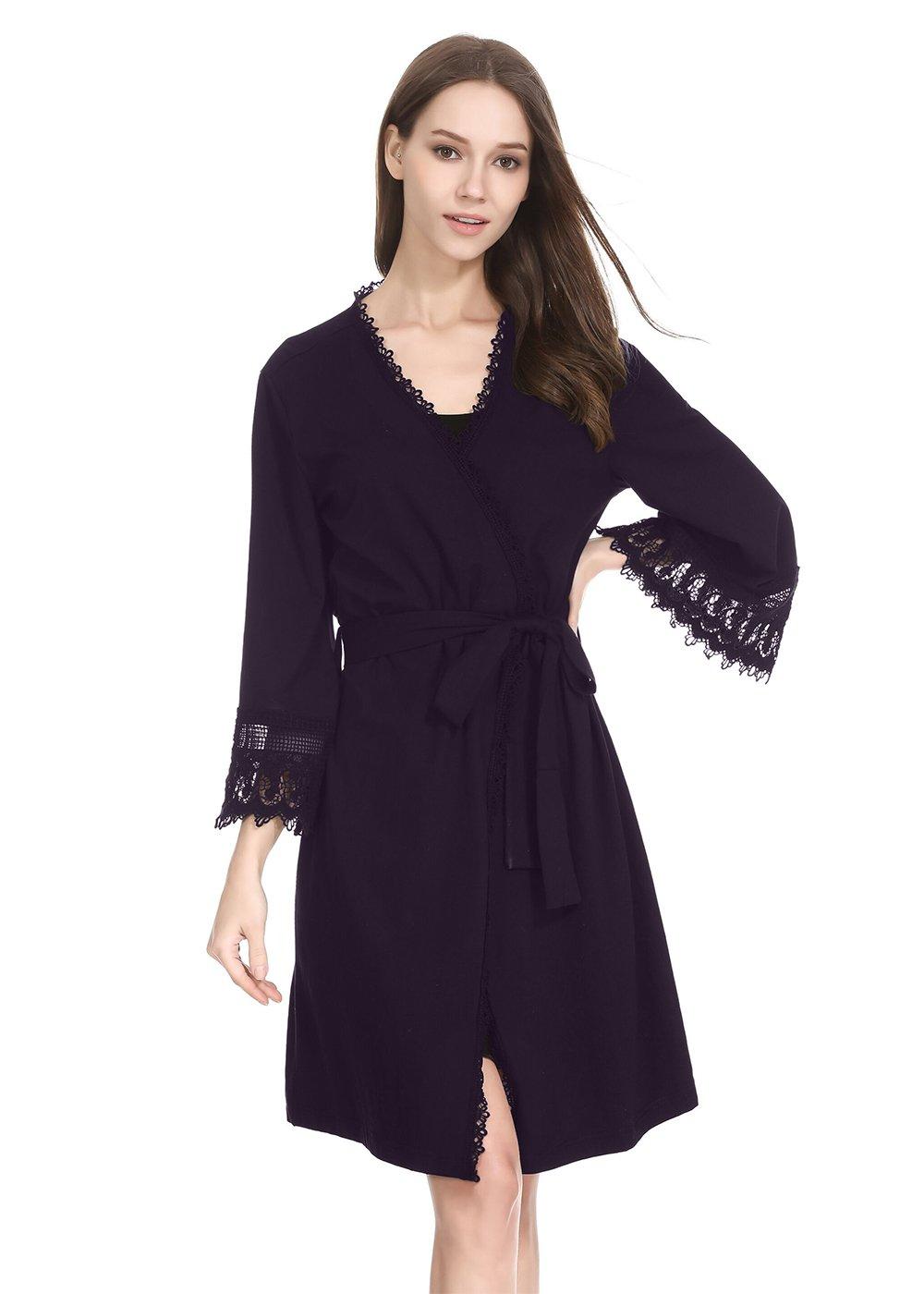 lantisan Cotton Soft Robes for Women, Long Kimono Full Length Dressing Gown