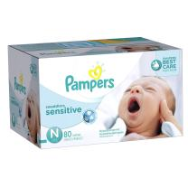 Diapers Newborn/Size 0 (< 10 lb), 80 Count - Pampers Swaddlers Sensitive Disposable Baby Diapers, Super Pack
