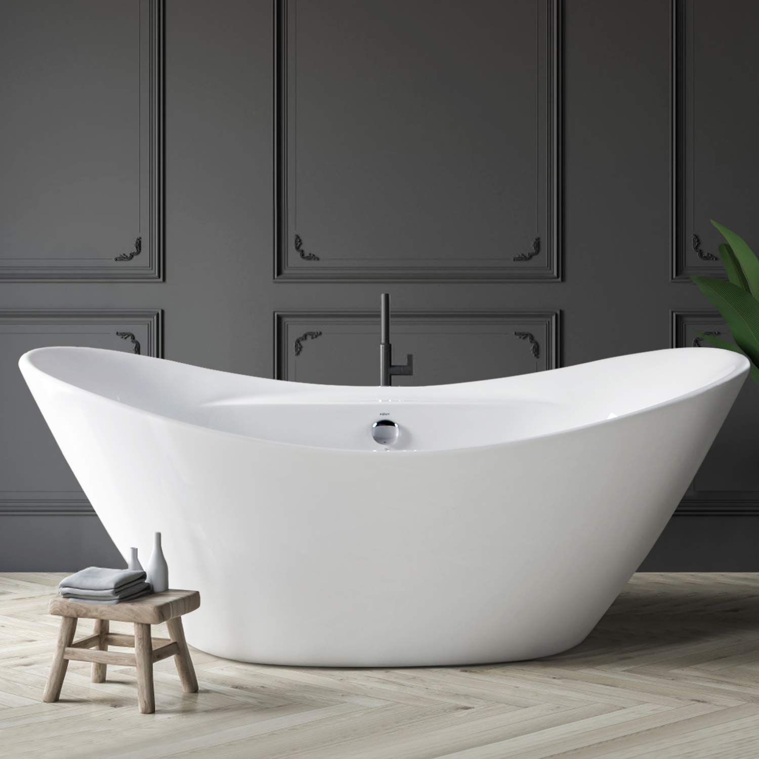 """FerdY 67"""" Freestanding Bathtub Curve Edge Soaking Bathtub, Glossy White, cUPC Certified, Drain & Overflow Assembly Included"""