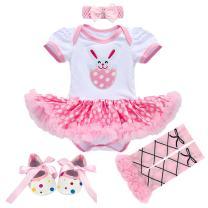 Newborn Baby Toddler Girl 1st Easter Rabbit Romper Tutu Dress+Headband+Leg Warmers Shoes Outfits 3pcs/4pcs Cotton Clothes Set 4pcs Pink Rabbit Bunny 3-6 Months