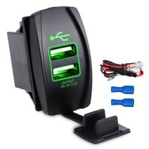 WATERWICH 5V 3.1A Marine Dual USB Car Charger Adapter Socket Waterproof with in-line Fuse for Universal Rocker Switch Boat RV Vehicle SUV Truck Yacht (3.1A with Green LED Light)