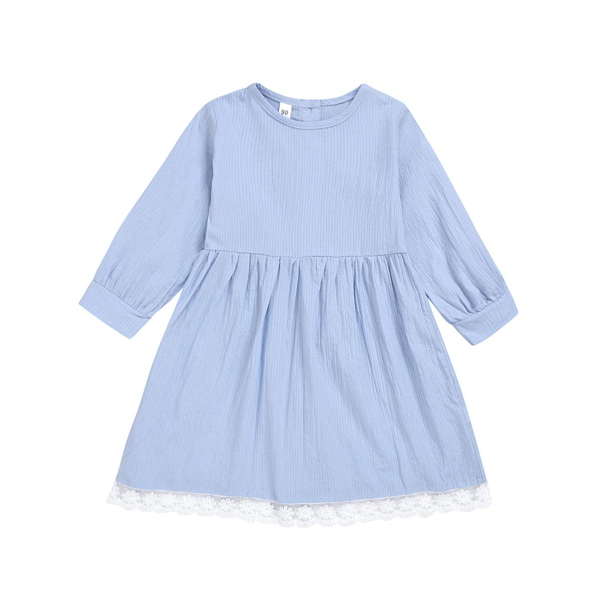 Toddler Kids Baby Girl Casual Dress Solid Color Long Sleeve Lace Spring Dress Outfits
