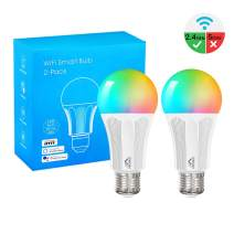 MoKo Smart LED Light Bulb, 2 Pack E26 9W Dimmable Light, RGB Warm White Light, Work with Alexa Echo,Google Home for Voice Control, Remote Control, No Hub, Only Supports 2.4GHz Network, White