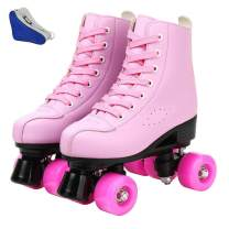 Women's Roller Skates,Faux Leather Roller Skates High-top Roller Skates Four-Wheel Roller Skates Shiny Roller Skates for Kids and Adults